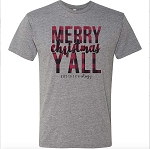 Plaid Merry Christmas Y'all Statement Tee