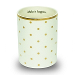 Ceramic Pencil Cup Gold Dots