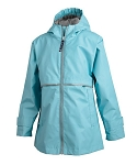 Preppy Monogrammed Girls' Aqua Rain Jacket