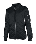Women's Quilted Boston Flight Jacket- Black
