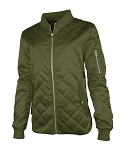 Women's Quilted Boston Flight Jacket- Olive