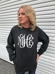 Center Monogram Charcoal Pullover