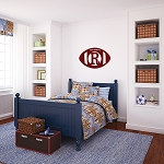 18 Inch Wood Football Initial Monogram