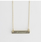 Gold Plated Engraved Bar Necklace