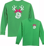 Long Sleeve Preppy Reindeer Monogram Shirt