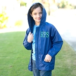Solid Navy Kids Rain Jacket