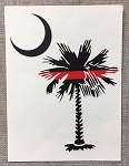 Thin Red Line Palmetto Tree Decal