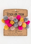 Natural Life Stick-On Trim Neon Pink Poms