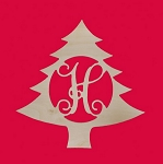 18 Inch Wood Christmas Tree Initial Monogram