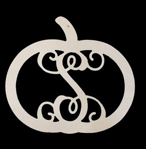 18 Inch Wood Pumpkin Initial Monogram