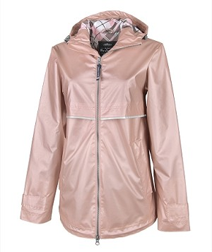 Rose Gold Preppy Monogrammed Rain Jacket