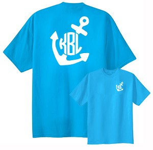 Custom monogrammed anchor t shirt for Initials on dress shirts