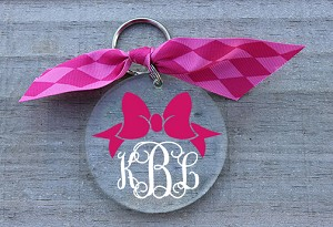 Preppy Monogram Bow Keychain