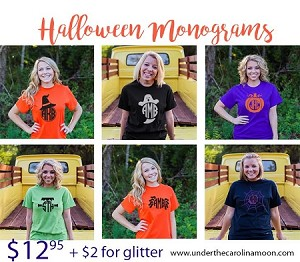 Short Sleeve One Color Halloween Monogram Shirt