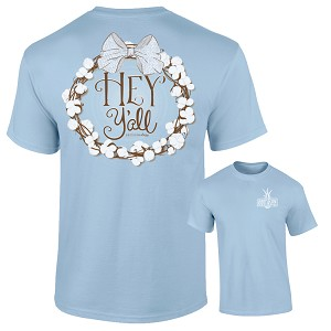 Southernology® Chambray Hey Y'all Cotton Wreath T Shirt