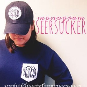 Seersucker Pocket Preppy Monogram T-shirt